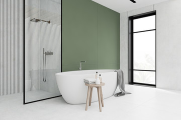 White and green bathroom corner, tub and shower