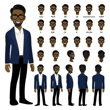 Cartoon character with African American business man in smart suit for animation. Front, side, back, 3-4 view character. Separate parts of body. Flat vector illustration.