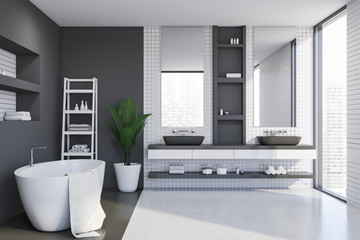 White tile and gray bathroom interior