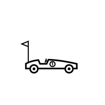 Soap box car outline icon. Clipart image isolated on white background