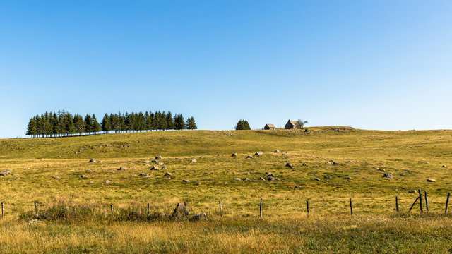View over the meadows in Aubrac near Nasbinals