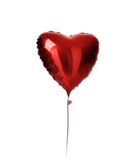 Single red heart balloon object for birthday party or valentines day isolated on a white