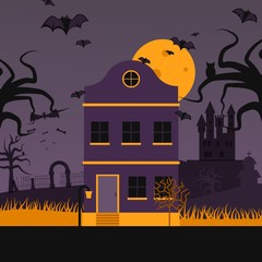 Haunted house on halloween night, vector illustration. Flat style scene with spooky abandoned house, flying bats fool moon and scary old castle. Creepy halloween town, mysterious dark mansion building