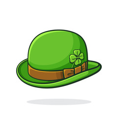 Vector illustration. Isometric view of green retro bowler hat with clover. Saint Patrick's Day symbol. Print for showcase, greeting card. Graphic design with contour. Isolated on white background