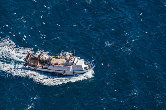 Fishing ship, surrounded by seagulls come back in the harbor of Calpe, Spain