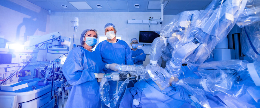 Modern surgical system. Medical robot. Minimally invasive robotic surgery. Medical background