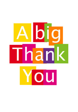 A big thank you message. Clipart image isolated on white background