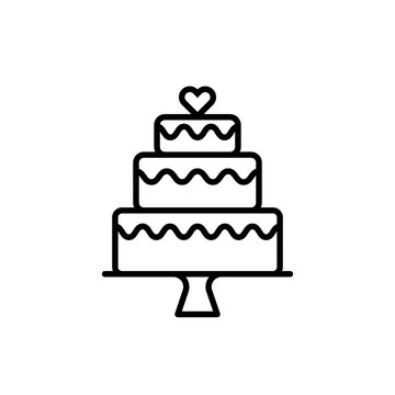 Three tier cake outline icon. Clipart image isolated on white background