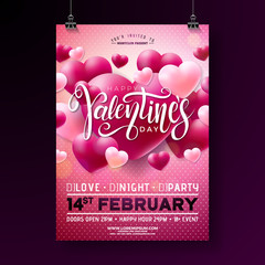 Vector Valentines Day Party Flyer Design with Typography and Balloon Heart on Pink Background. Love Celebration Poster Template for Invitation or Greeting Card.