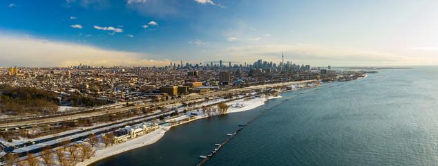 Best aerial panorama Downtown Toronto Ontario Canada winter season snow