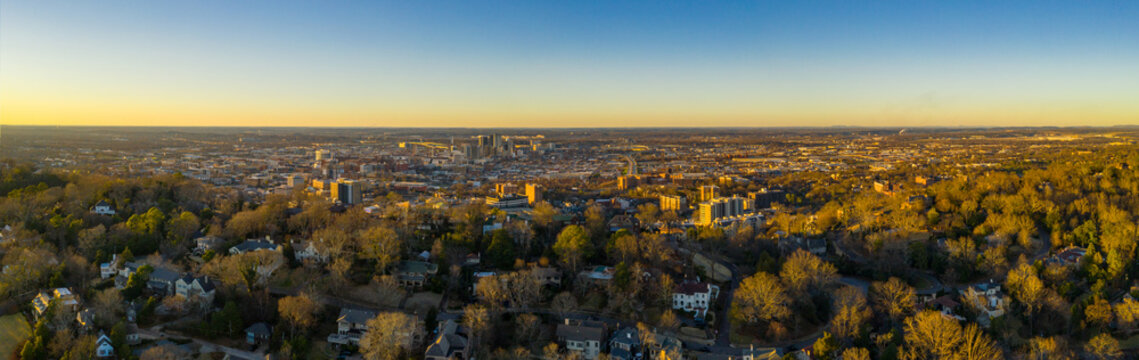Aerial photo Redmont Park Birmingham Alabama with view of Downtown at sunset