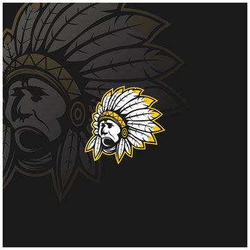 chief indian apache cherokee american head logo vector illustration
