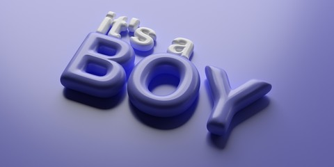 It's a boy. Glossy and bubble blue text on blue background. Balloon letters. 3d illustration