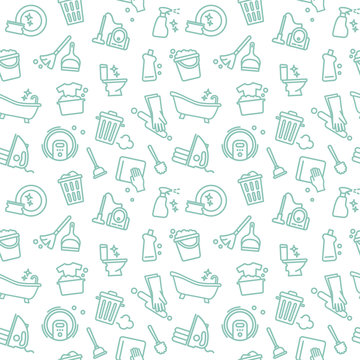 Seamless background of cleaning and housework. Vector Illustration