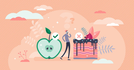 Healthy choices concept, flat tiny person vector illustration