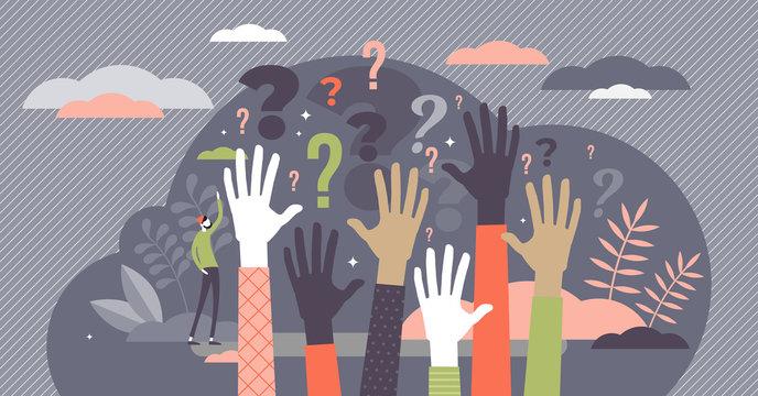 Questions concept, flat tiny person vector illustration