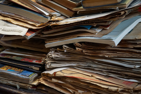 Full Frame Shot Of Stacked Old Books And Newspapers