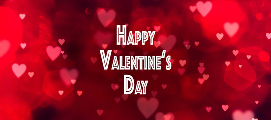 Fototapete - Valentines day background banner - abstract panorama background with red hearts - concept love - art deco stil