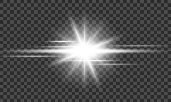 Vector transparent sun flare. Bright glow from a searchlight. Realistic shine on a transparent background.