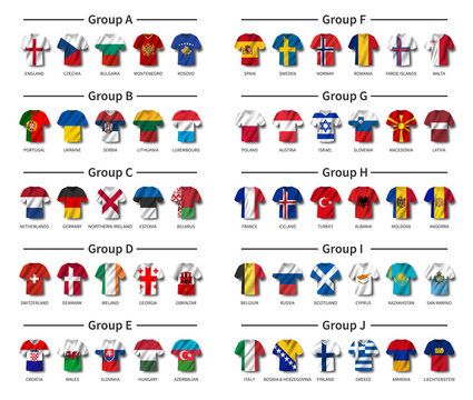 European soccer tournament qualifying draw 2020 . Group of international teams . Football jersey with waving country flag pattern . White theme background . Vector .