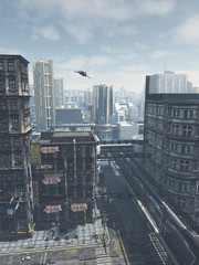 Science fiction illustration of a Bird's Eye view of future city streets and buildings with shuttlecraft flying overhead