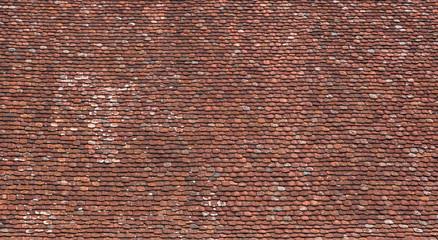 Große Dachfläche mit sehr alten, rotbraunen Dachziegeln