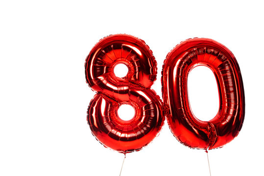 number 80 red balloons isolated on white