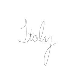 Foto op Plexiglas One Line Art Italy lettering word hand drawing vector illustration