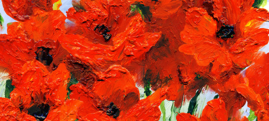 Poster de jardin Rouge Oil painting. Red gladiolus in the garden