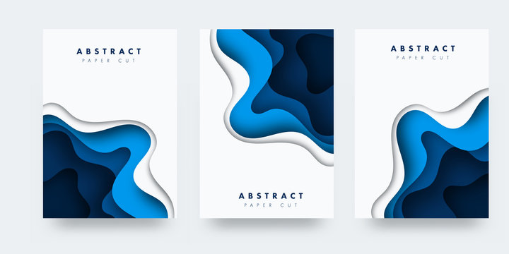 Vertical A4 blue banners with 3D abstract background with blue paper cut waves. Contrast colors. Vector design layout for presentations, flyers, posters