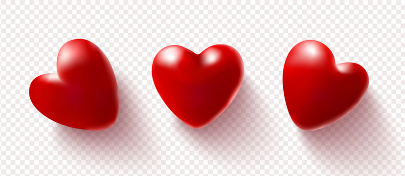 Set of red 3D hearts isolated on a transparent background.Vector illustration.Love concept