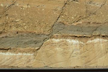 Closeup of Normal fault along the highway between Guatemala City and Lake Amatitlan, Guatemala