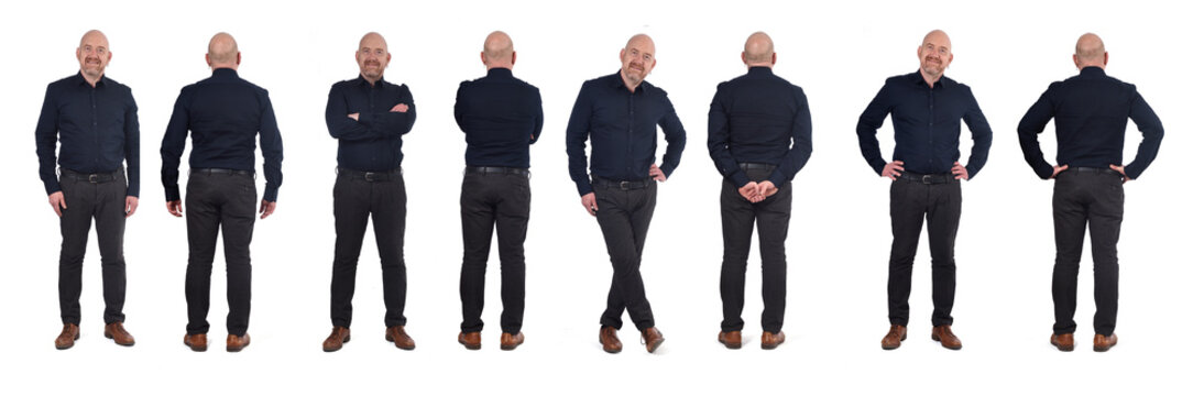 full portrait of a man standing in various poses