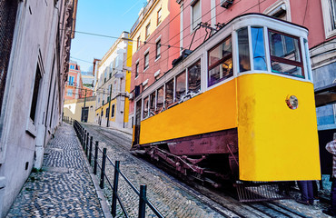 The Gloria Funicular in Lisbon, Portugal. Wall mural