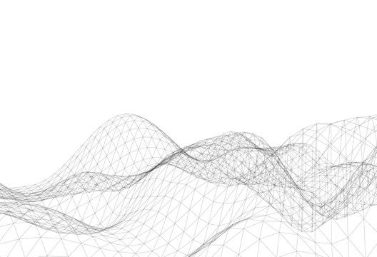 Abstract triangular mesh, background vector illustration