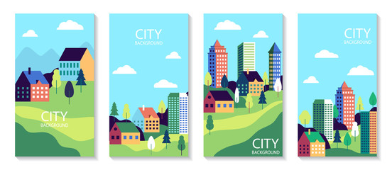 Photo sur Aluminium Piscine Town landscape set poster. Urban industry cards. Simple flat city with buildings, street. Set of banner with nature countryside. Cityscape backgrounds for social media. vector illustration