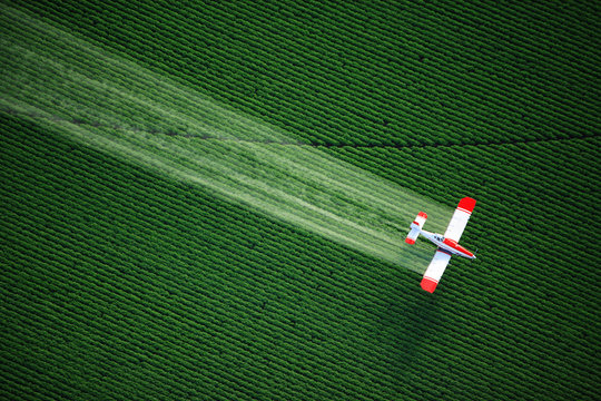 aerial view of a crop duster or aerial applicator, flying low, and spraying agricultural chemicals, over lush green potato fields in Idaho.