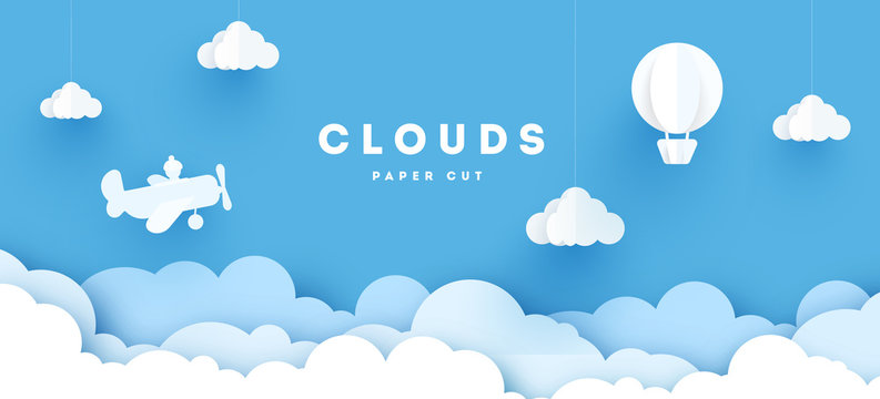 Modern paper art clouds, airplane, banner and mountains. Cute cartoon fluffy clouds. Pastel colors. Origami style. Vector illustration