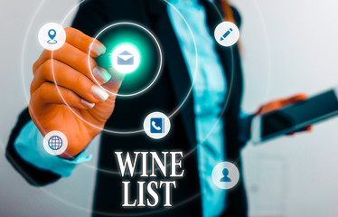 Text sign showing Wine List. Business photo showcasing menu of wine selections for purchase typically in a restaurant