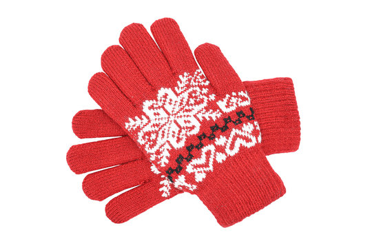 Red womens knitted wool winter gloves with pattern isolated on white background