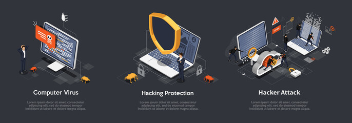 Set of Isometric hacking concept. Set Of Illustrations of Computer Virus, Hacking Protection, Hacker Attack. Anti virus, spyware, malware. Vector illustration
