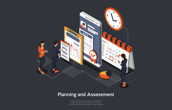 Isometric Concept Of Research and Develop Of Mobile Application. Business people, Man and Women are Working on Planning and Assessment of Mobile Application. Vector illustration