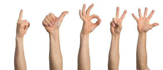 Man hand showing various gestures