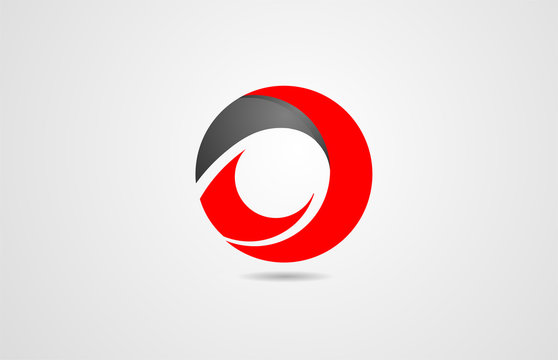 abstract black red circle corporate business logo icon design for company