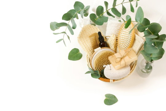 basket with spa and bath products zero waste with copy space on white background. Beauty skincare concept.