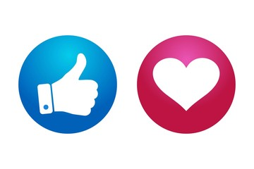 high quality 3d vector round blue red cartoon bubble emoticons for social media Facebook Instagram Whatsapp chat comment reactions, icon template like love heart emoji character message