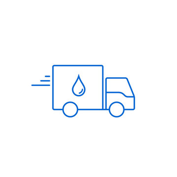 Delivery Water Truck Icon Logo flat Design line symbol. Vector