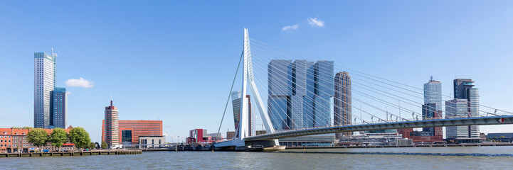 Erasmus Bridge And Skyline Of kop Van Zuid District In Rotterdam, Netherlands