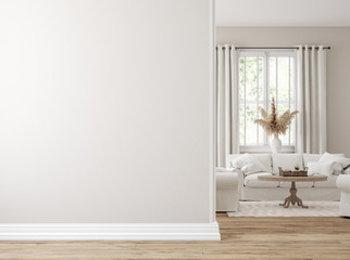 Scandinavian farmhouse living room interior, wall mockup, 3d render