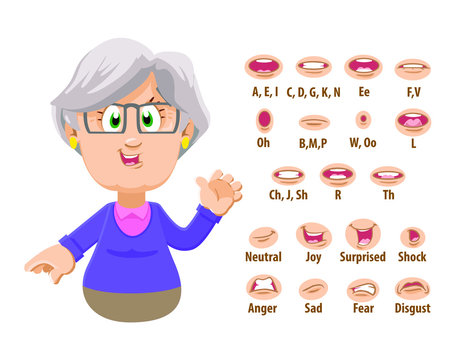 Cute old woman, spectacled grandmother shows to set of mouth, teeth positions. Lip sync emotions collection. Can be used for animation. Cartoon vector illustration isolated on white background.